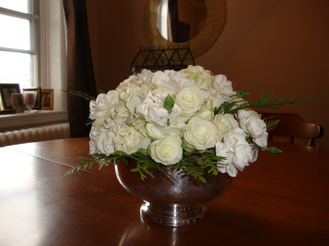DIY all-white centrepiece