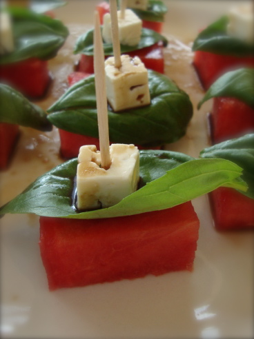Balsamic-drizzled watermelon basil bites