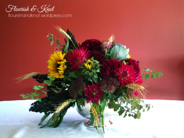 An autumnal arrangement on a budget
