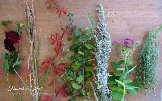 "An ""Outlander"" bouquet: foraged greens, burgundy dahlias, lavender, sage | flourishandknot.com"