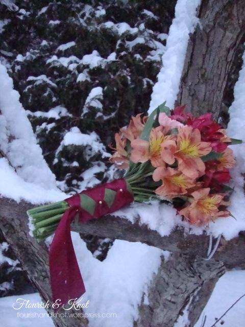 DIY wedding bouquet in peach and burgundy
