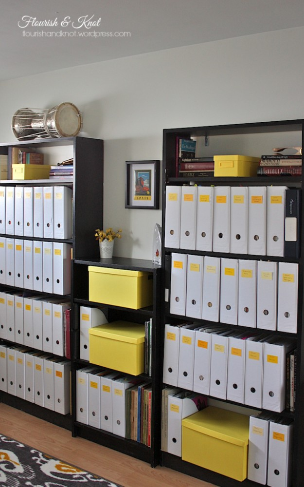 All the labels on the file-folders are made of recycled yellow paint chips!
