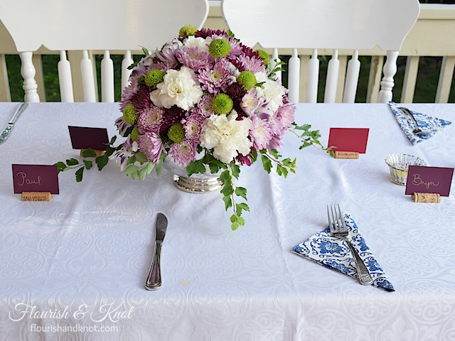 A gorgeous purple, white, and green DIY arrangement | flourishandknot.com