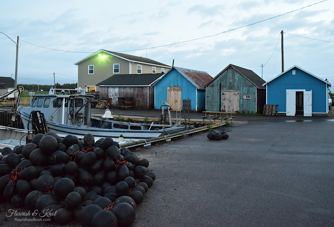 Lobster sheds in the harbour at dusk in Malpeque, PEI