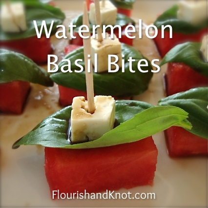 Watermlon basil bites with a balsamic drizzle | by FlourishandKnot.com