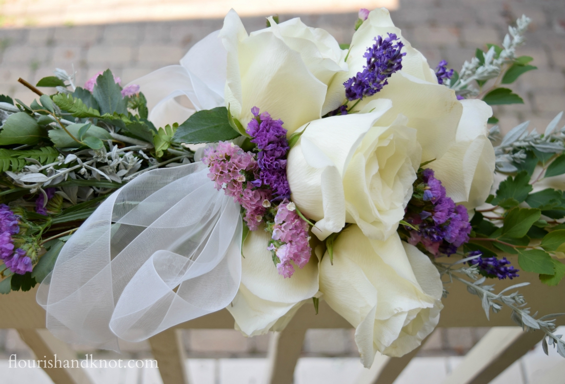 DIY Cascade Bouquet in white and purple