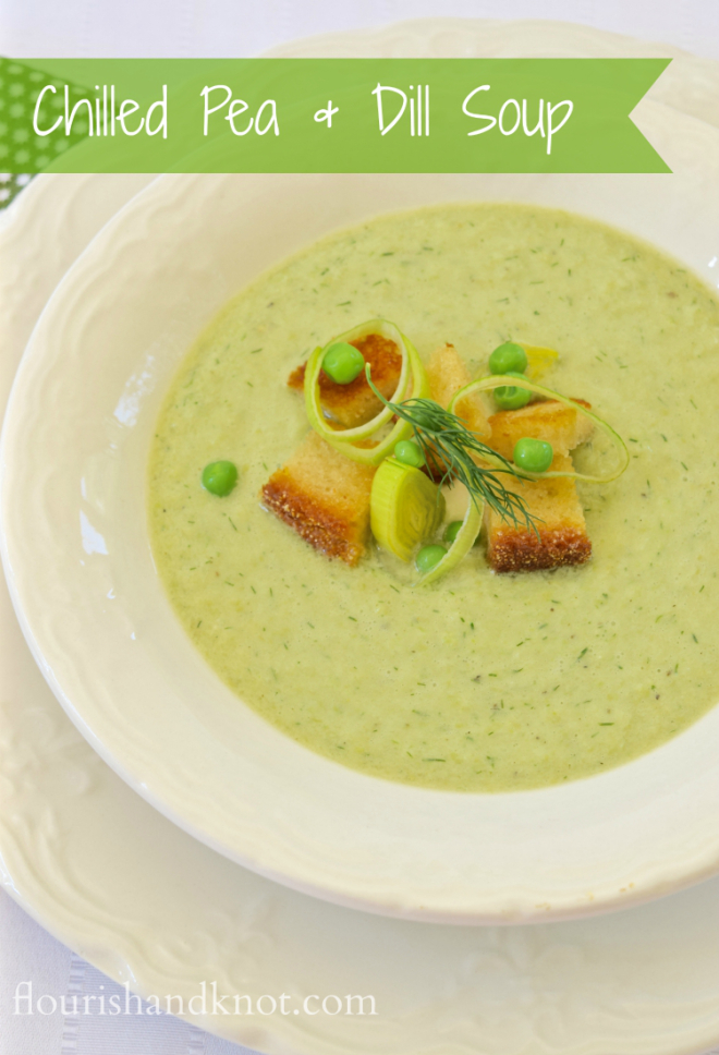 Chilled pea and dill soup with rye croutons | flourishandknot.com