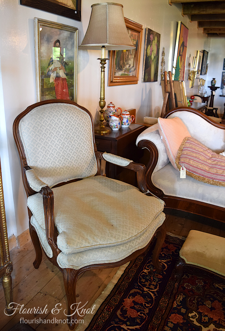 Fauteuil-style antique chair at Coach House Antiques, Victoria, PEI