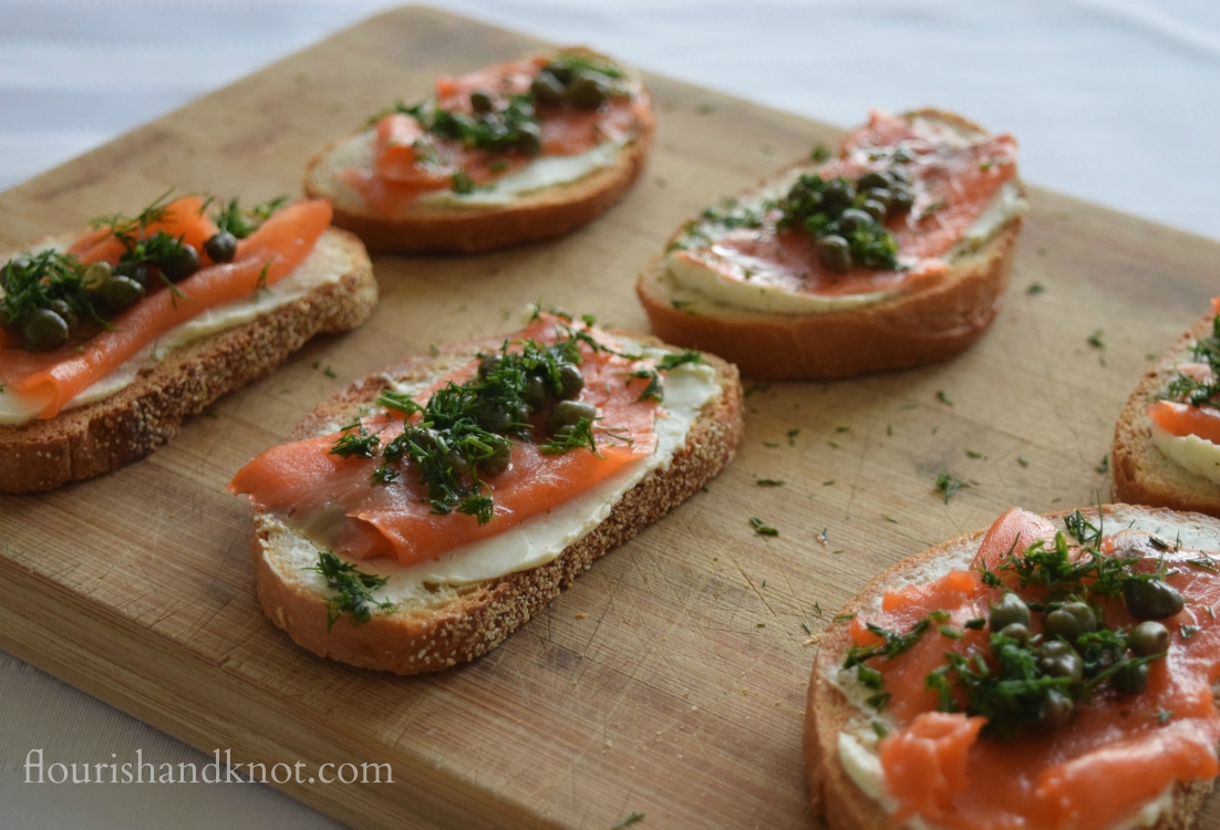 Traditional Scandinavian gravlax appetizer made of smoked salmon, cream cheese, dill, capers, and lemon juice | flourishandknot.com