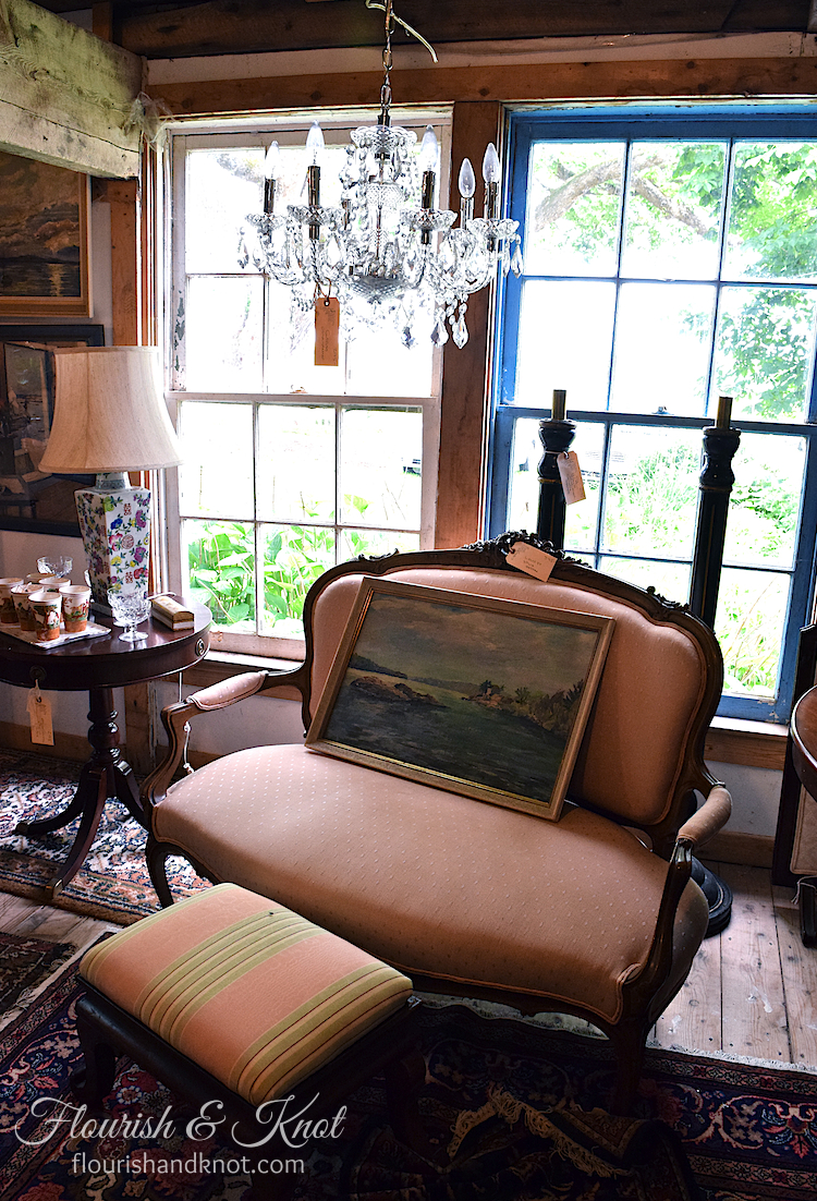 Beautiful antique settee at Coach House Antiques, Victoria, PEI