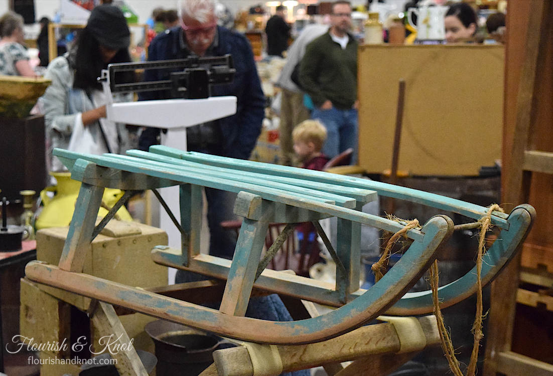 Antique blue sled at the Sunday Flea Market, Cornwall, PEI
