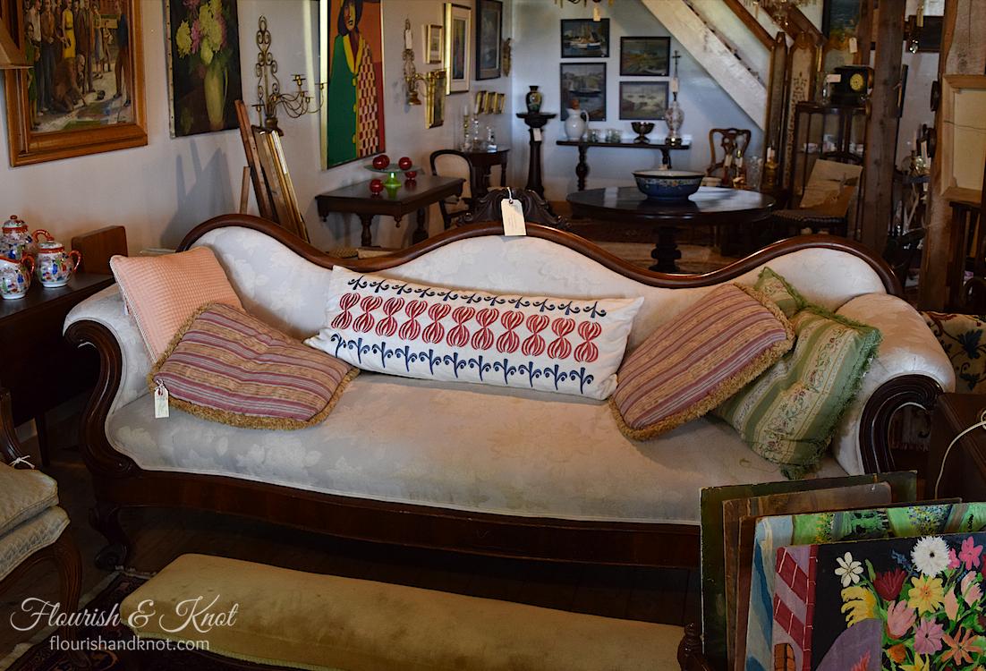 Beautiful sofa and throw cushions at Coach House Antiques, Victoria, PEI