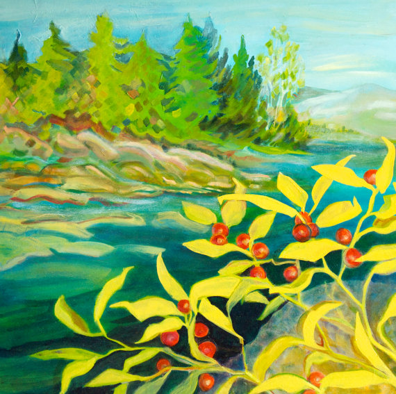 At the edge of the L'Assomption River by Constance Beaulieu