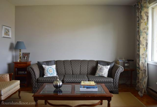 Our living room as of September 2015 - still lots of decorating to do!   flourishandknot.com