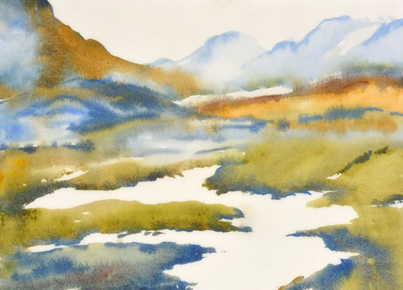 Watercolor Painting Landscape Mountain Art Print by NancyKnightArt