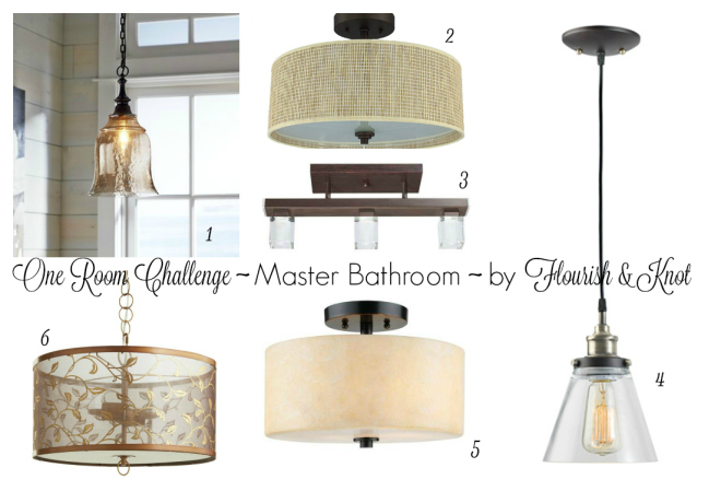 Lighting options for the One Room Challenge Master Bathroom makeover | flourishandknot.com