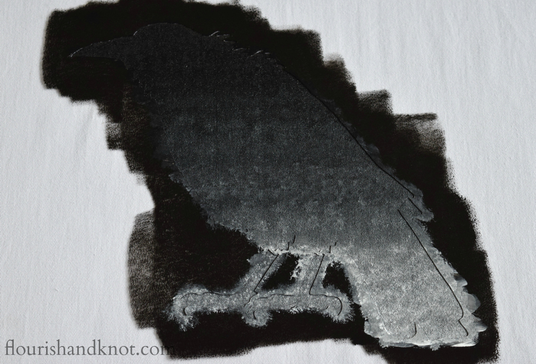 "Create your own Poe-etic ""Raven"" pillow using Cutting Edge Stencils 