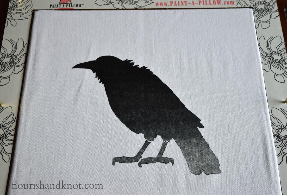 "Create your own Poe-etic ""Raven"" pillow using Cutting Edge Stencils | flourishandknot.com"
