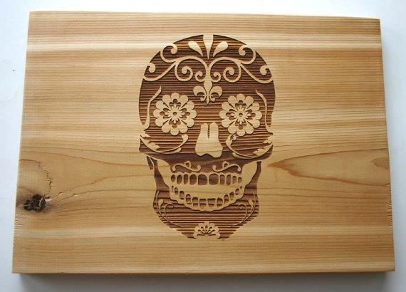 Sugar Skull Cedar Art