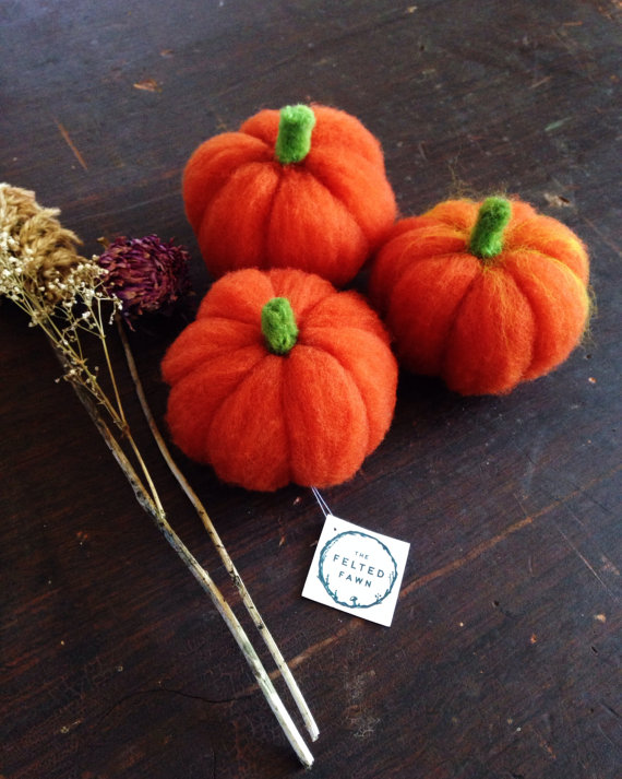 Three Needle Felted Pumpkins