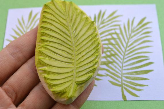 Handmade rubber leaf stamp