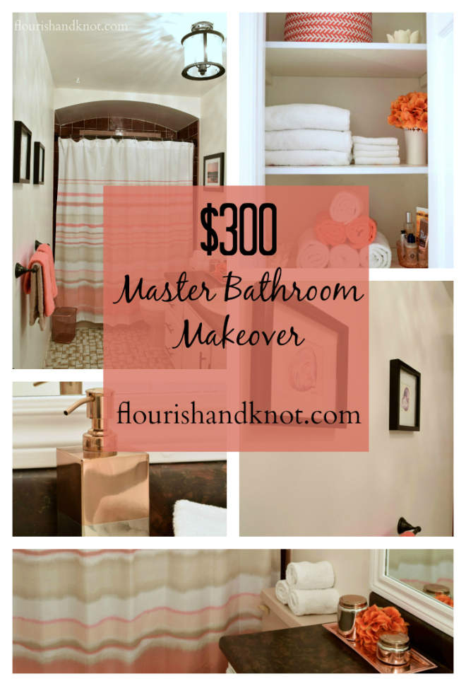 A $300 coral, brown, and white bathroom makeover | One Room Challenge | flourishandknot.com