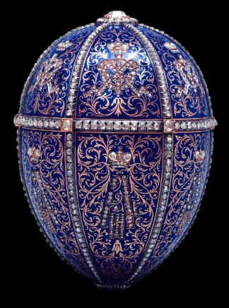 Mieks Fabergé Egg in blues, silver, and gold