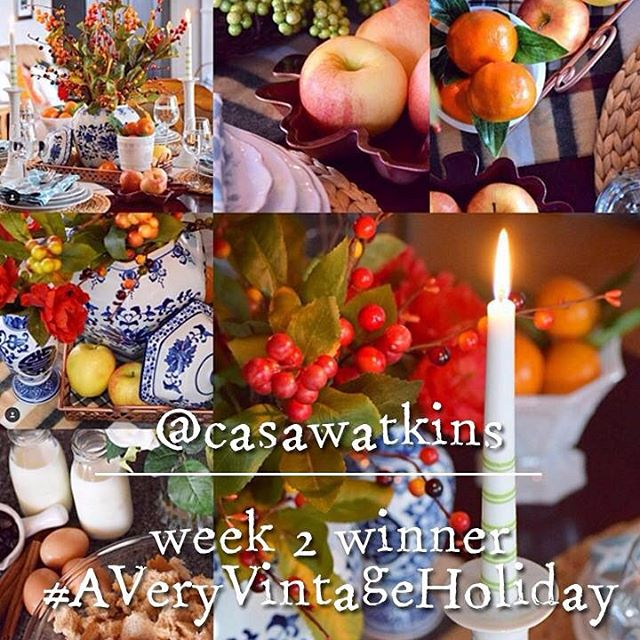 Congrats to my bloggy friend @casawatkins, who is this week's winner of #averyvintageholiday! I love her gorgeous table setting in blues, oranges, and copper! #createandshare