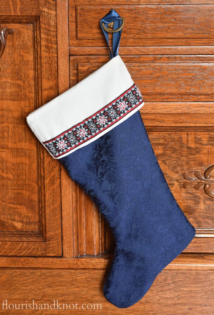Flourish & Knot's 2015 Christmas Home Tour | flourishandknot.com | Blue and white DIY nordic stockings