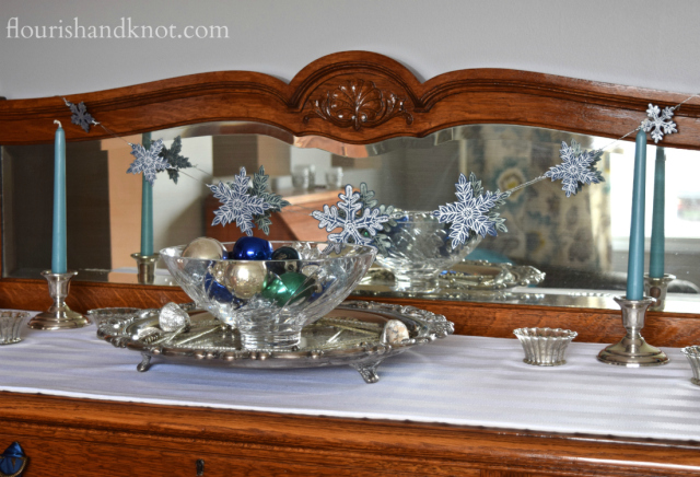 Flourish & Knot's 2015 Christmas Home Tour | flourishandknot.com | Blue and silver sideboard decoration