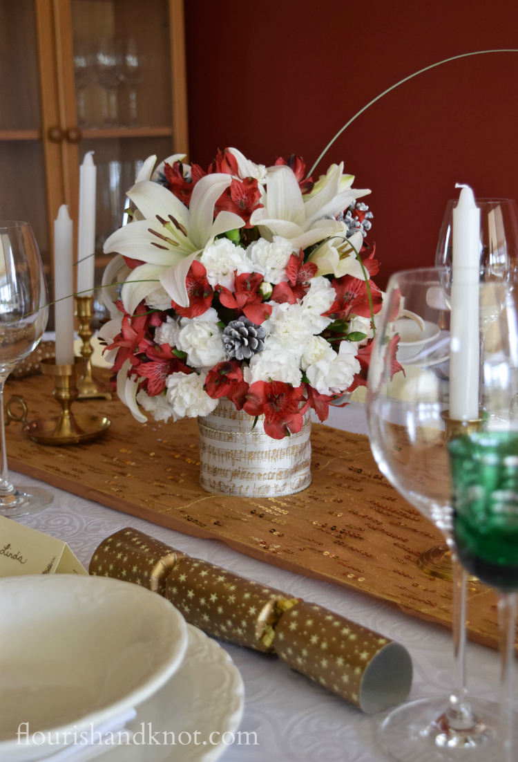 Red white and gold tablescape
