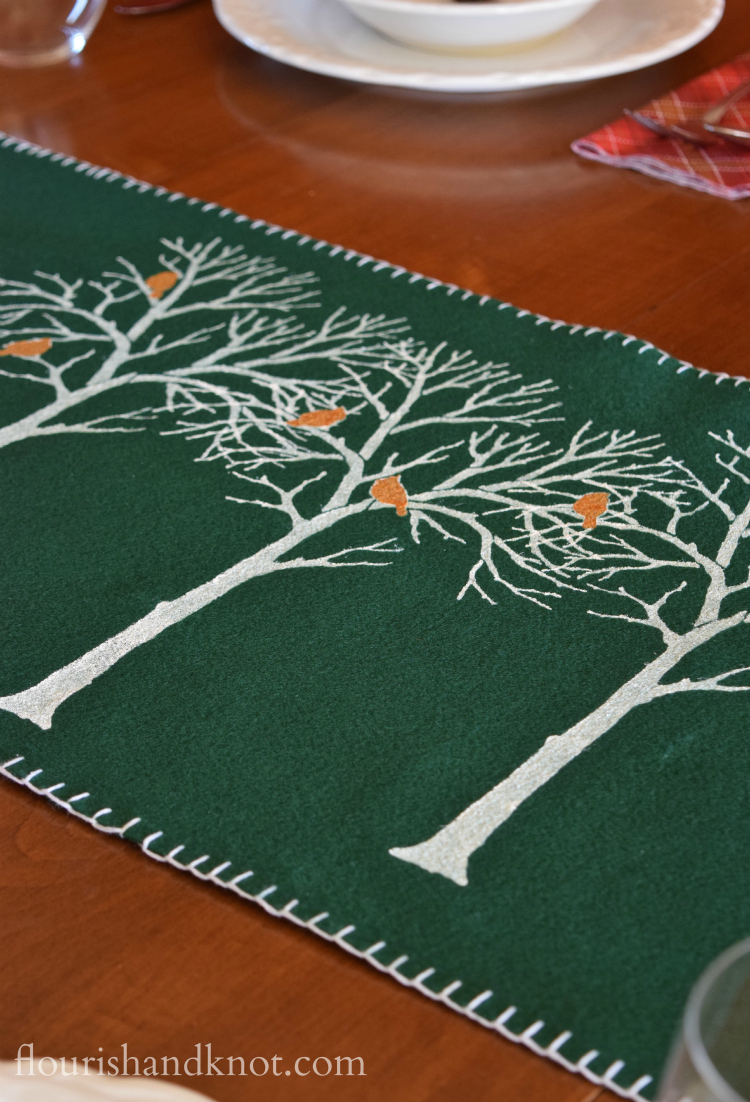 Rustic, elegant stencilled birch tree table runner | with Cutting Edge Stencils | flourishandknot.com