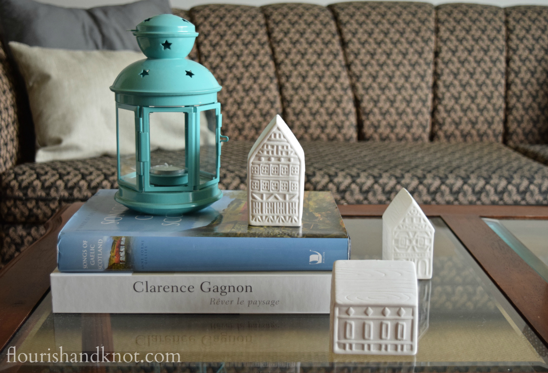 Flourish & Knot's 2015 Christmas Home Tour | flourishandknot.com | Turquoise lantern with white ceramic houses
