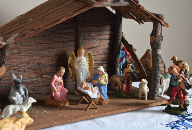 Flourish & Knot's 2015 Christmas Home Tour | flourishandknot.com | Vintage nativity scene