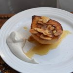 Flambéd Pears with a Maple-Orange Praline Glaze and Spiced Maple Cream | flourishandknot.com