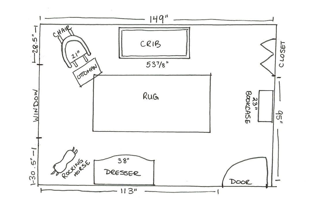 The layout for our Harry Potter girl's nursery   flourishandknot.com