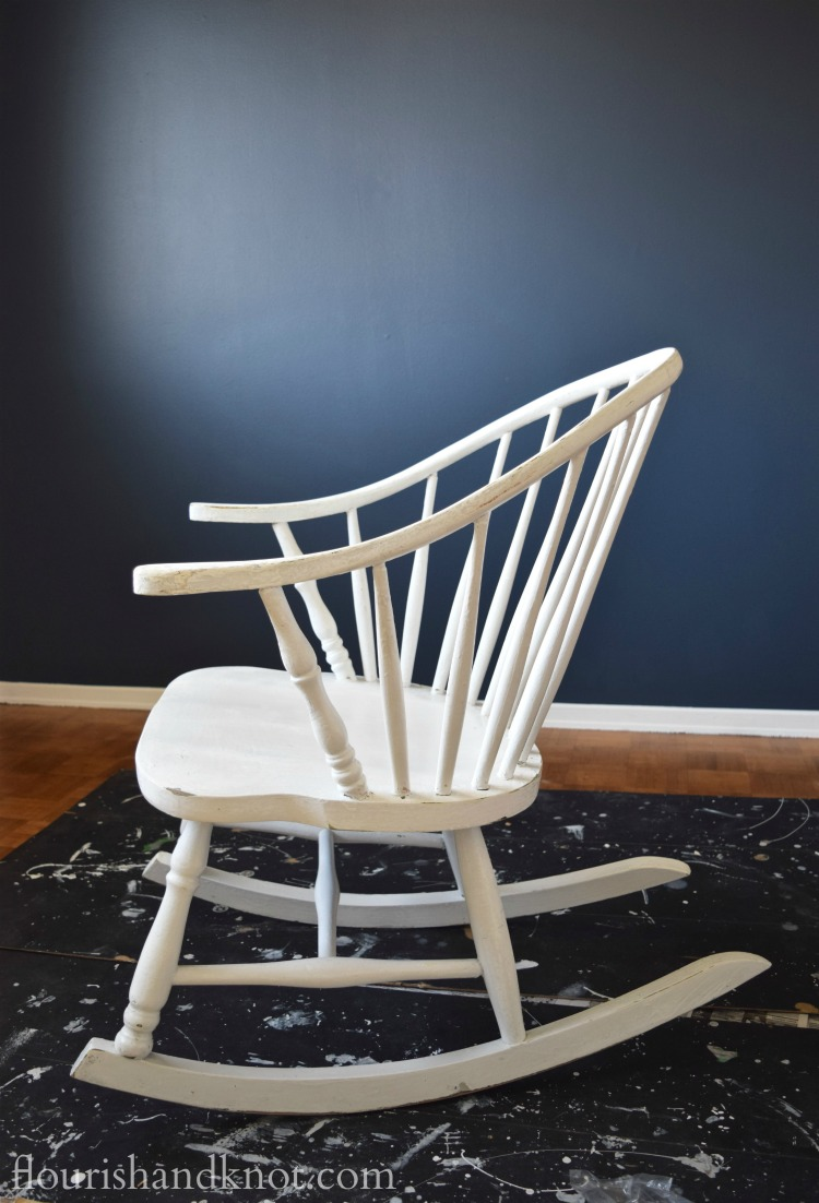 "The ""before"" of our Windsor rocking chair makeover for our #OneRoomChallenge nursery 