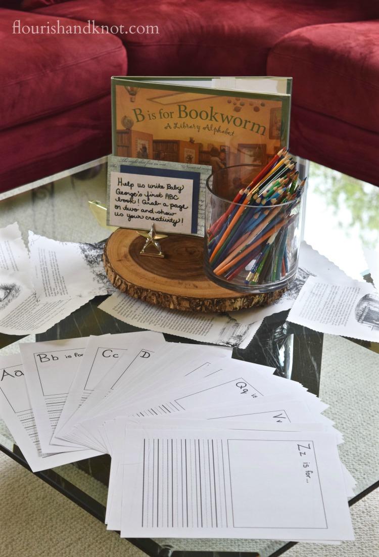 ABC guest book   Storybook Baby Shower   flourishandknot.com