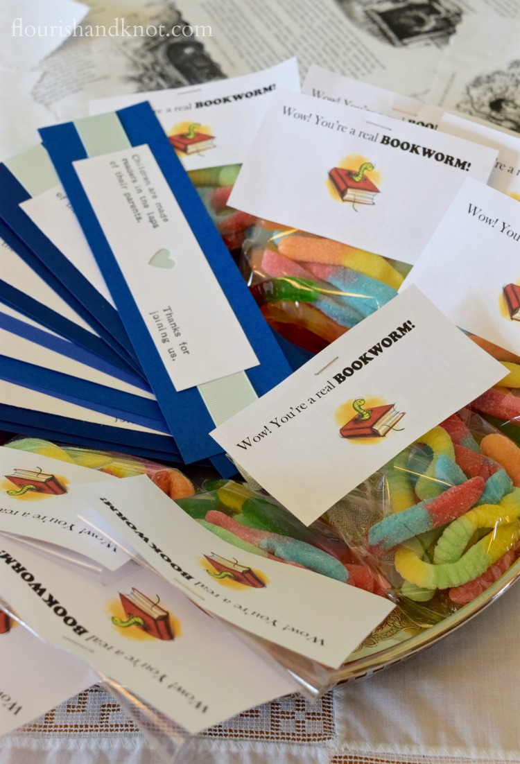 """""""Bookworm"""" favours and hand-printed bookmarks   Storybook Baby Shower   flourishandknot.com"""