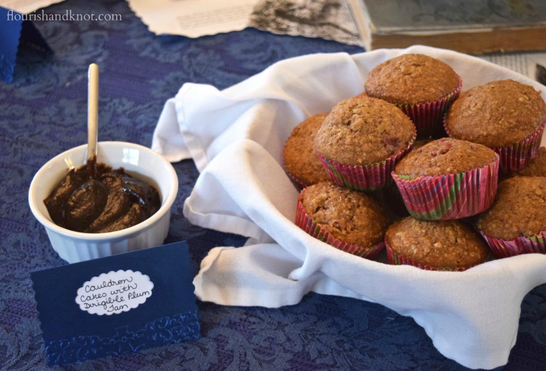 """Cauldron cakes"" (muffins) with Dirigible Plum Jam   Storybook baby shower   flourishandknot.com"