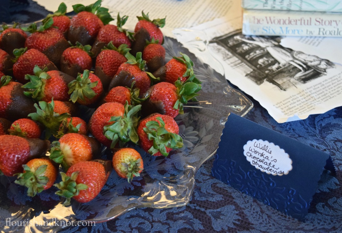Willie Wonka's Chocolate-Covered Strawberries | Storybook baby shower | flourishandknot.com
