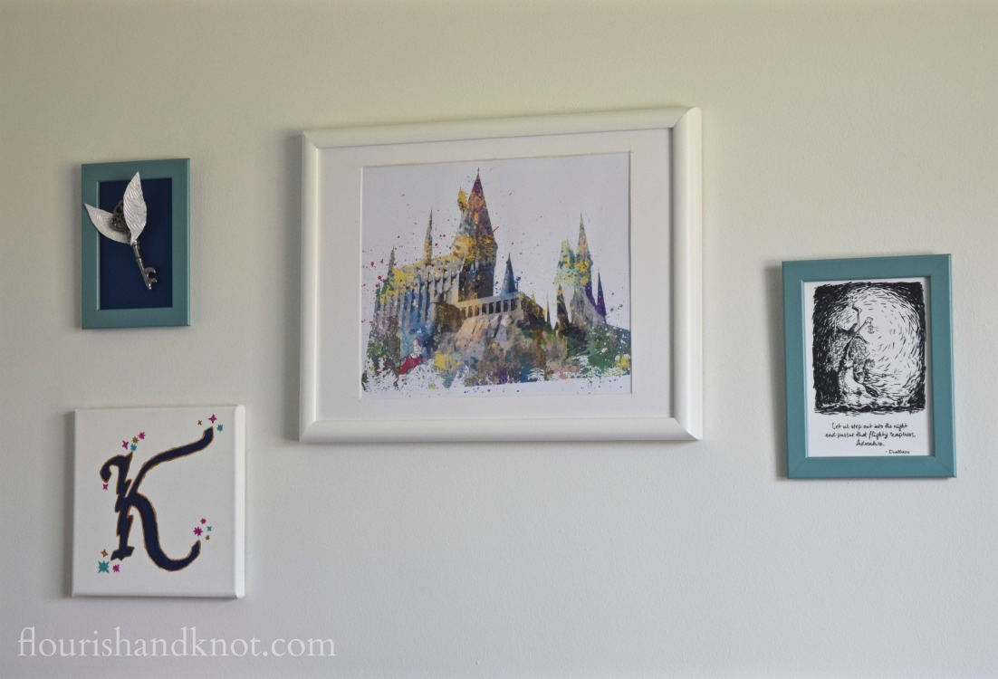 Harry Potter gallery wall with watercolour Hogwarts print from I Love Print | flourishandknot.com