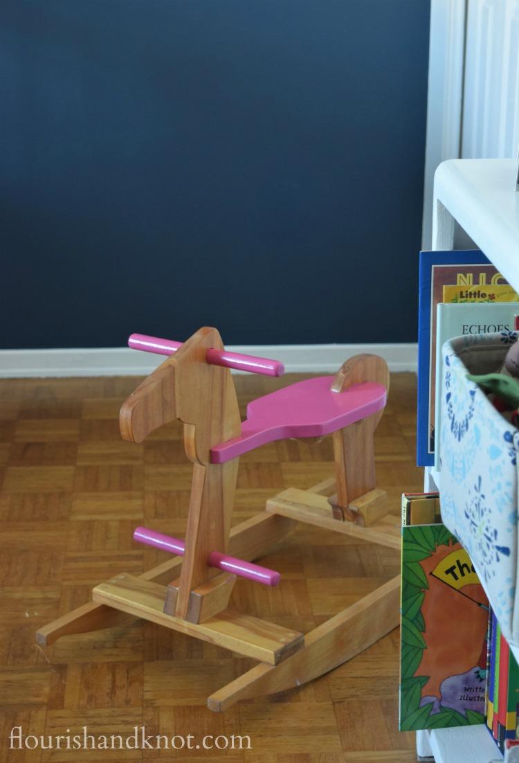 Pink and natural wood rocking horse | flourishandknot.com