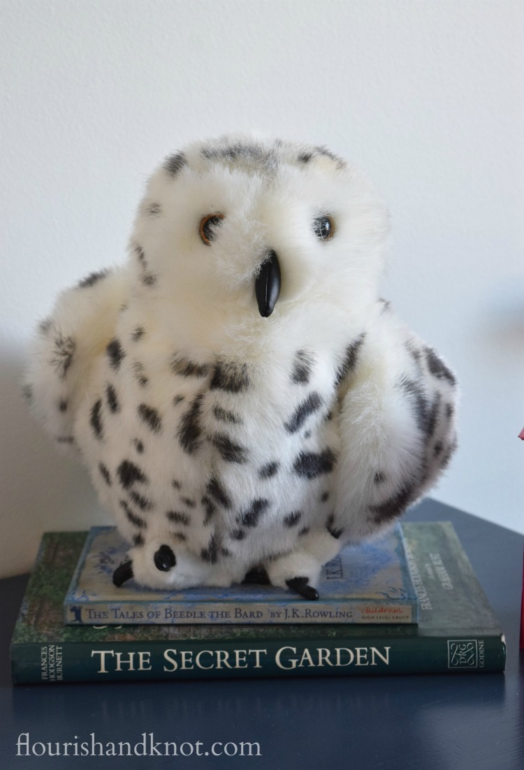 Stuffed puppet Hedwig in our Harry Potter nursery | flourishandknot.c