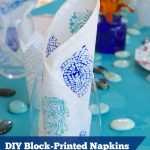DIY Block-Printed Napkins in blues and turquoise | flourishandknot.com