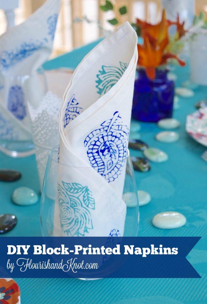 DIY Block-Printed Napkins in blues and turquoise | flourishandknot.com