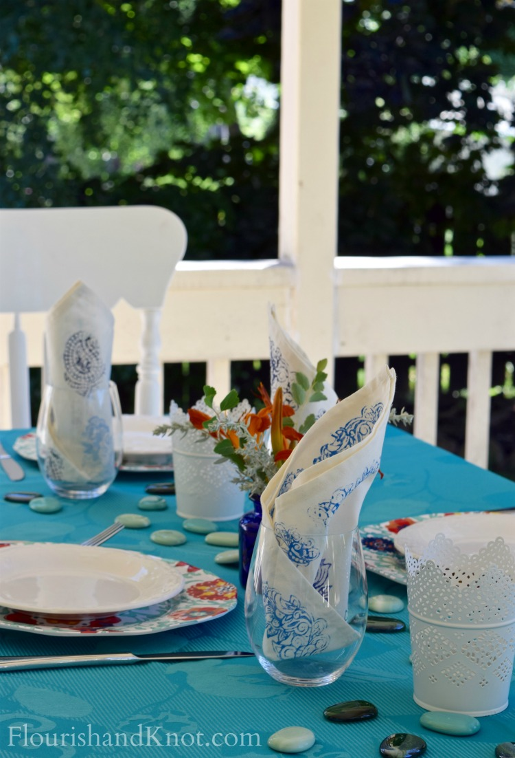 Turquoise & Orange Outdoor Table | Al Fresco Tablescape Hop | Bright, Global, Fresh Tablescape | Flourishandknot.com