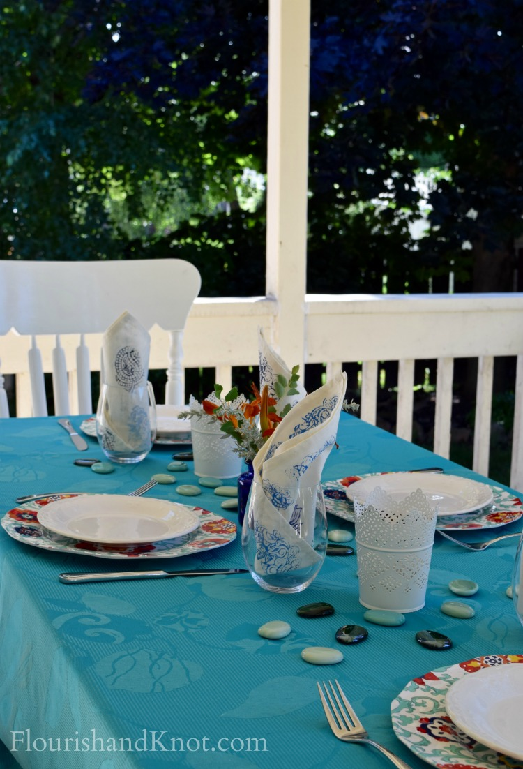 Al Fresco Tablescape - Turquoise and Orange 2