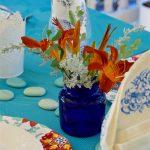 Turquoise & Orange Outdoor Table | Al Fresco Tablescape Hop | Bright, Global, Fresh Tablescape | Flourishandknot.com
