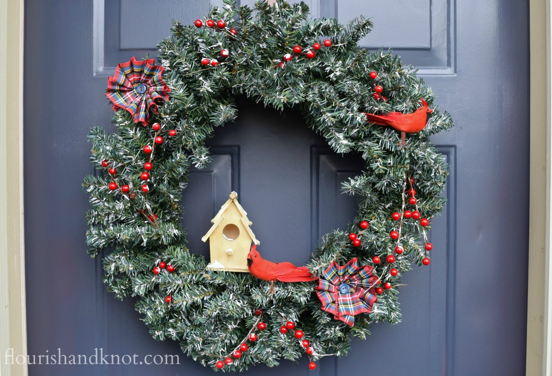 Berries & Birds Christmas Wreath | DIY Holiday Wreath Hop | flourishandknot.com